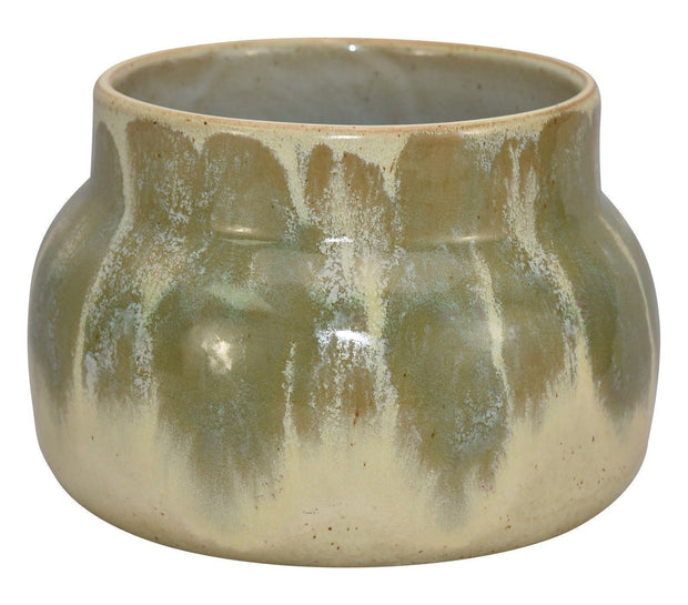 University Of North Dakota Pottery Large Green Cream Flowing Glaze Ceramic Vase - Just Art Pottery