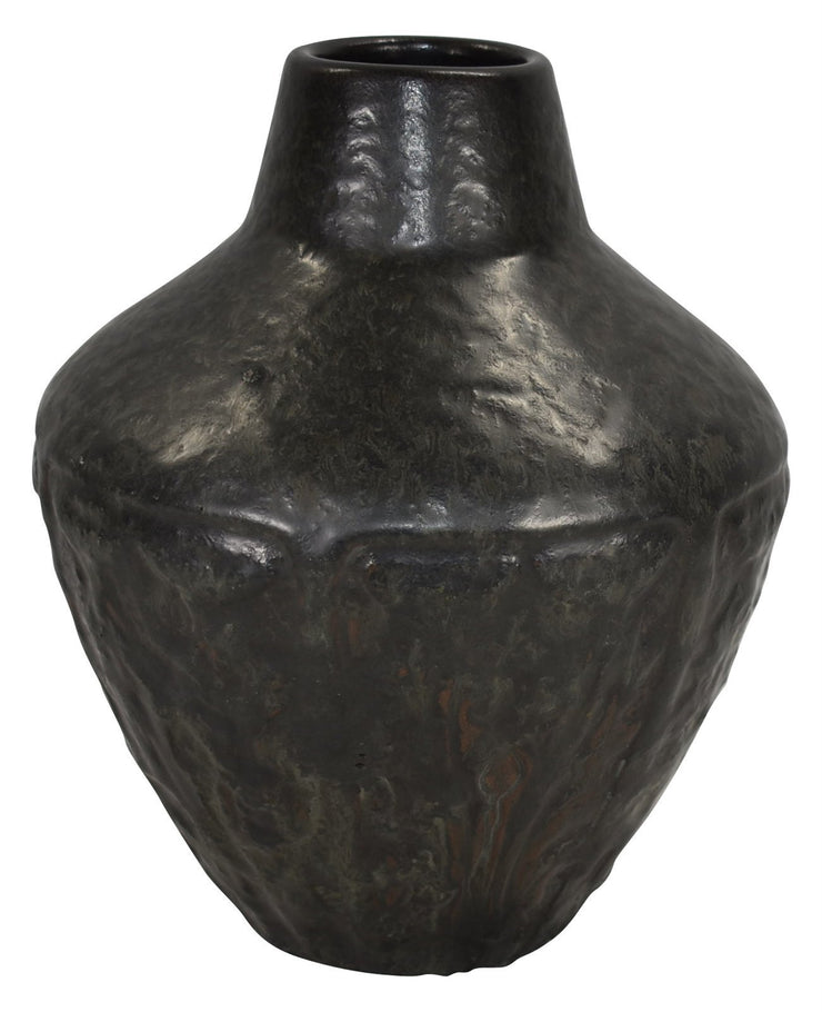 Van Briggle Pottery 1906 Thistles In Panels Curdled Black Glaze Vase Shape 461 - Just Art Pottery