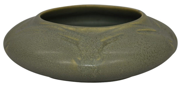 Van Briggle Pottery 1907-12 Green Stylized Leaves Bowl Shape 689 - Just Art Pottery