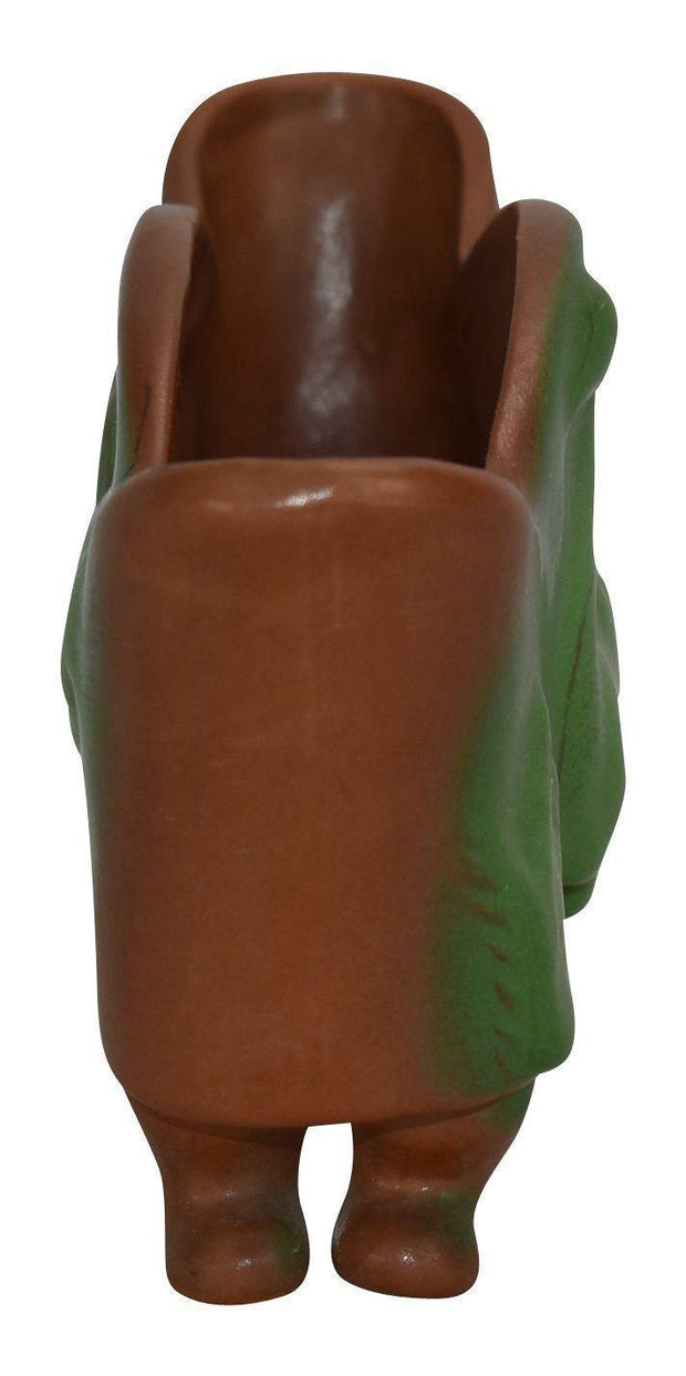 Van Briggle Pottery 1920s Mountain Crag Brown and Green Swan Planter - Just Art Pottery