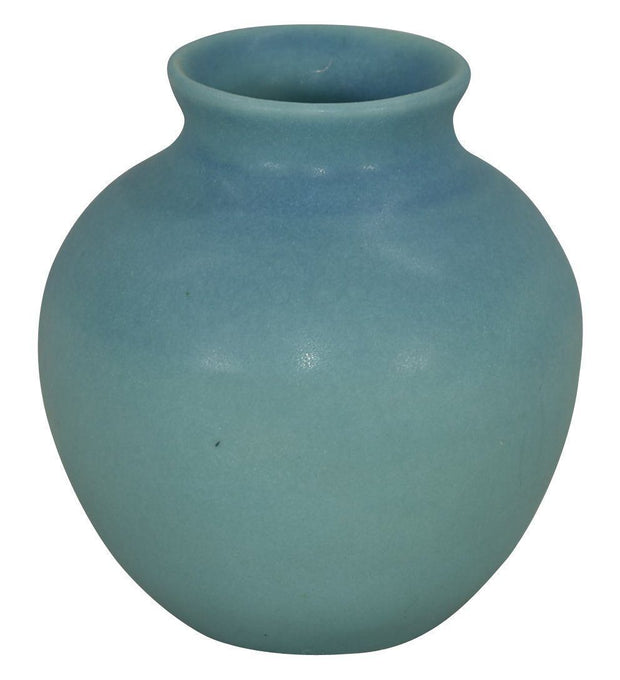 Van Briggle Pottery 1940s Original Hand Thrown Blue Ball Vase (Hull) - Just Art Pottery