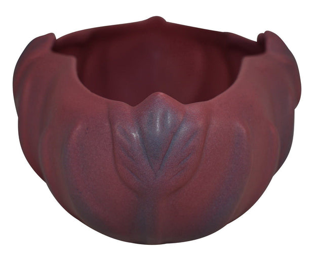 Van Briggle Pottery 1940s Tulip Persian Rose Ceramic Console Bowl - Just Art Pottery
