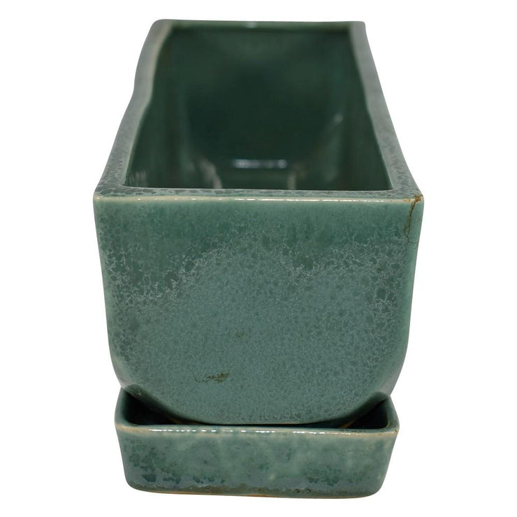 Van Briggle Pottery 1955-68 Mottled Green Rectangular Planter And Tray from Just Art Pottery