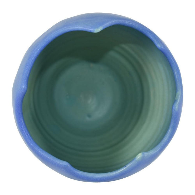 Van Briggle Pottery 1990s Blue Hand Thrown Scalloped Rim Art Deco Vase (Scalia) from Just Art Pottery