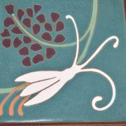 Van Briggle Pottery White Lilies and Grapes Green Four Tile Framed Plaque from Just Art Pottery