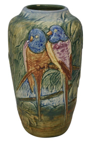 Weller Pottery Glendale Two Birds On A Branch Colorful Ceramic Vase - Just Art Pottery