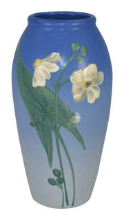 Weller Pottery Hudson White Arrowroot Floral Blue Vase (England) - Just Art Pottery