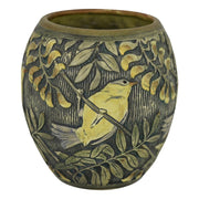 Weller Pottery Knifewood Late Teens Bird And Leaves Arts and Crafts Vase from Just Art Pottery