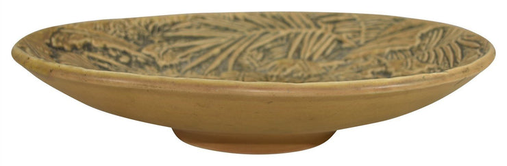 Weller Pottery Marvo Orange And Green Large Console Bowl - Just Art Pottery