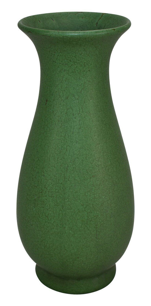 Weller Pottery Matte Green Flaring Rim Ceramic Vase - Just Art Pottery