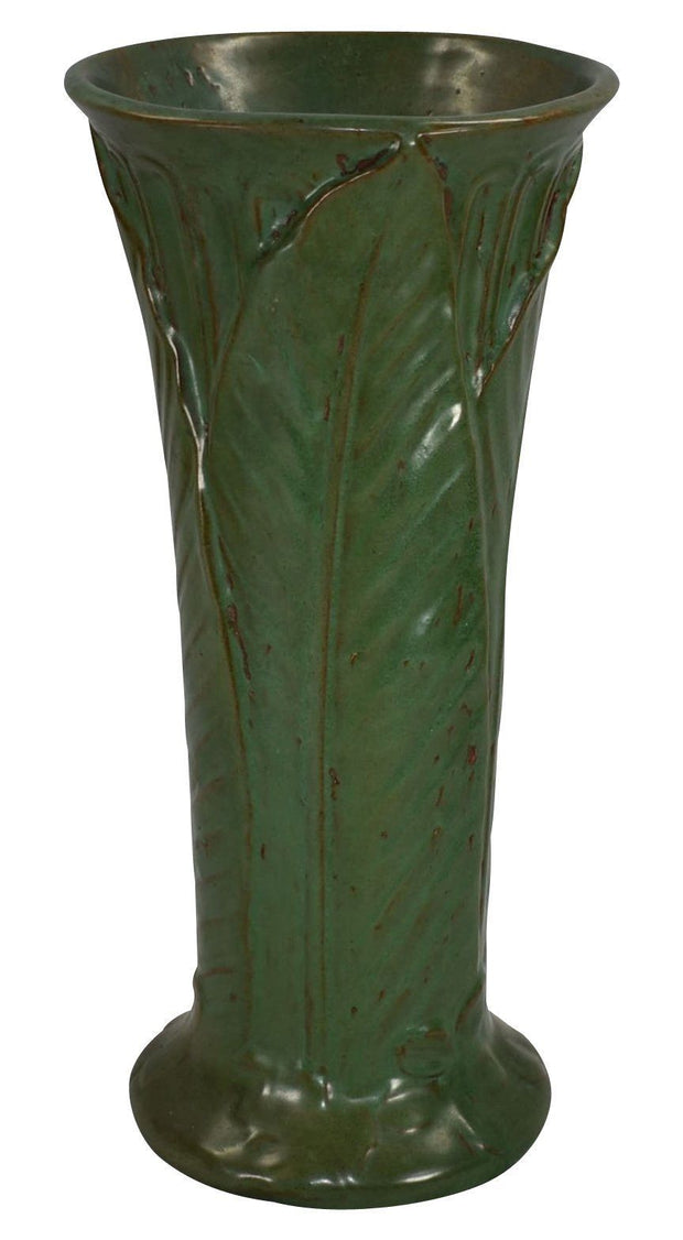 Weller Pottery Orris Matte Green Arts And Crafts Vase - Just Art Pottery