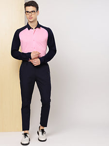 Men Pink & Navy Blue Slim Fit Knitted Stretchable Semiformal Shirt