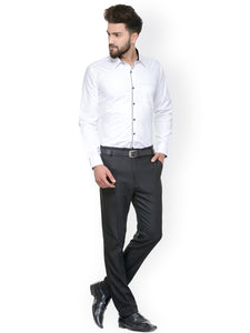 Men White Slim Fit Solid Formal Shirt