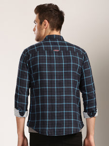 Men Navy Checked Slim Fit Casual Shirt