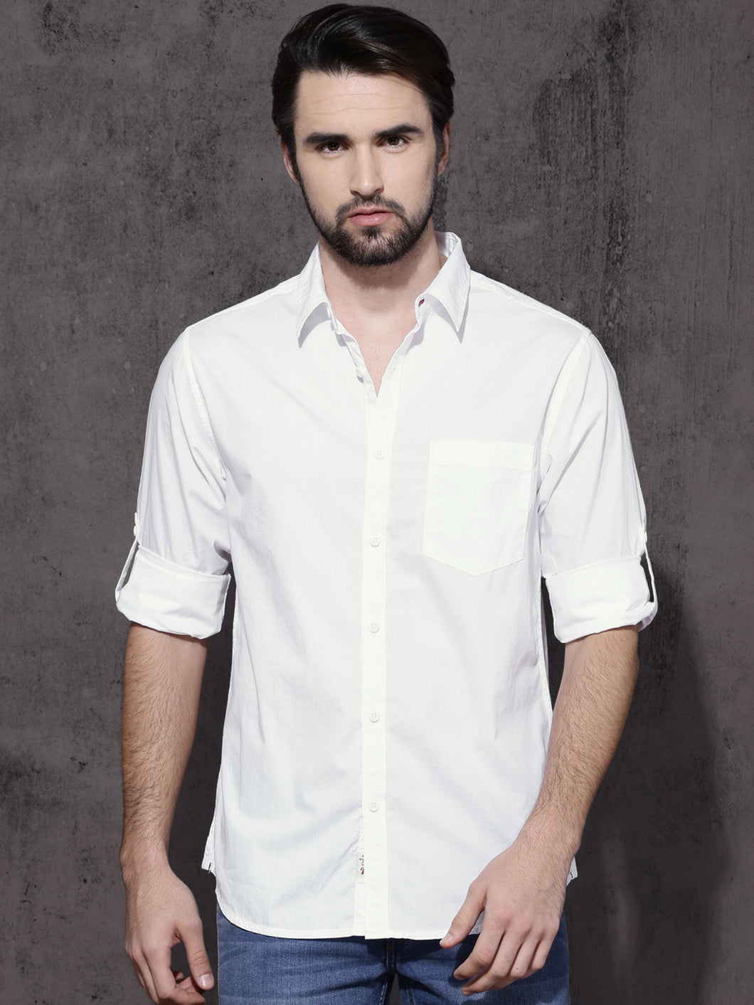 Men White Regular Fit Solid Casual Shirt