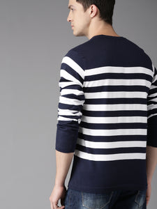 Men Navy Blue & White Striped Round Neck T-shirt