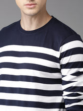 Load image into Gallery viewer, Men Navy Blue & White Striped Round Neck T-shirt