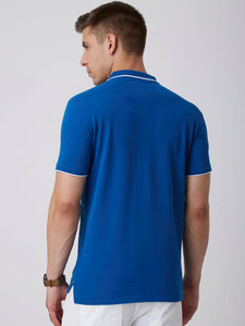 Men Blue Printed Polo Collar T-shirt