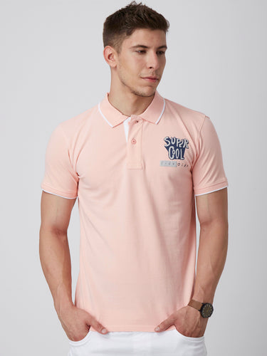 Men Pink Printed Polo Collar Slim Fit T-shirt