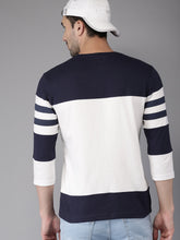 Load image into Gallery viewer, Men White & Navy Colourblocked T-shirt