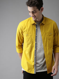 Men Mustard Regular Fit Solid Casual Shirt