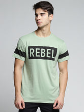 Load image into Gallery viewer, Men Green & Black Printed Round Neck T-shirt
