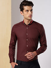 Load image into Gallery viewer, Men Black & Red Slim Fit Micro Printed Formal Shirt