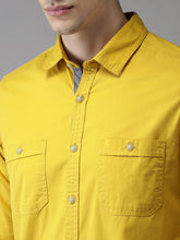 Load image into Gallery viewer, Men Mustard Regular Fit Solid Casual Shirt