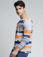 Load image into Gallery viewer, Men Grey Melange & Blue Printed Round Neck T-shirt