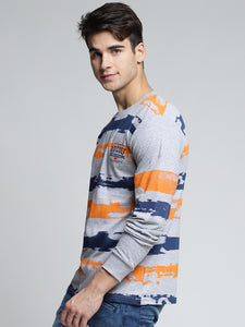 Men Grey Melange & Blue Printed Round Neck T-shirt