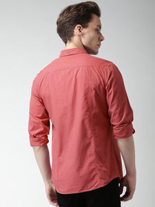 Men Red Slim Fit Solid Casual Shirt