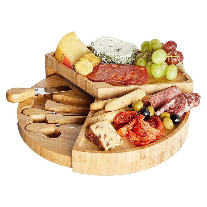 Fold Out Bamboo Wood Serving Cheese Board