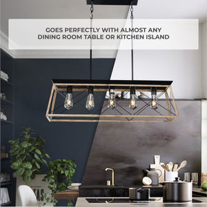 5-Light Adjustable Pendant Chandelier For Dining Room