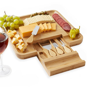 Slim-Profile Storage Cheese Cutting Board Set