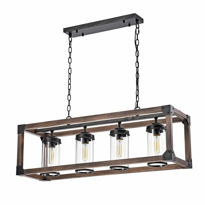 Modern 4 Light Wood Metal Rectangular Kitchen Pendant Chandelier