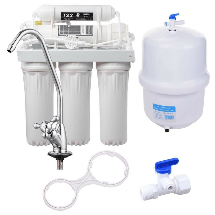 5 Stage 50 GPD Reverse Osmosis Drinking Water Filter System RO Filtration Home