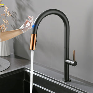 Touch Black & Rose Gold Kitchen Faucet