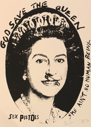 God Save The Queen Postage Stamp (Black & White)