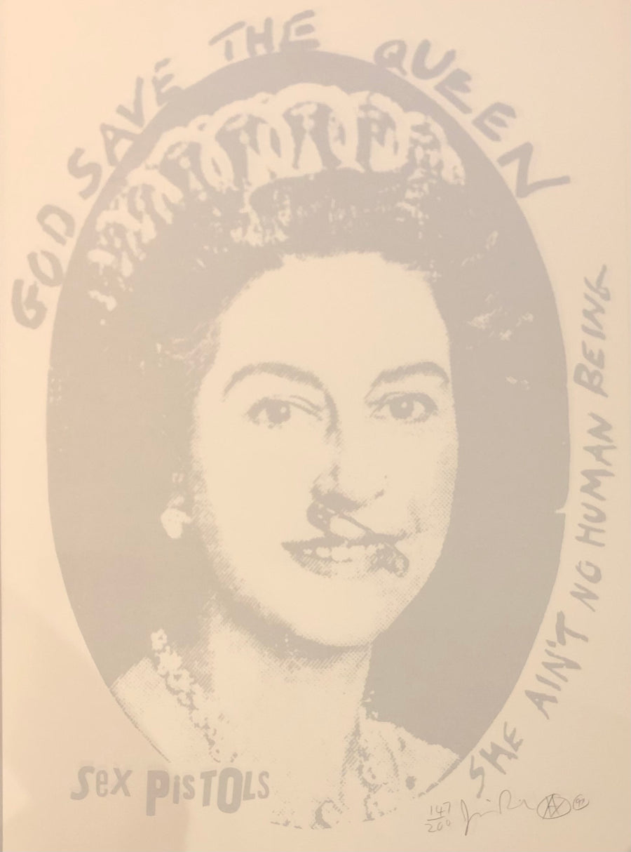 God Save The Queen Postage Stamp (Silver & White Colourway)