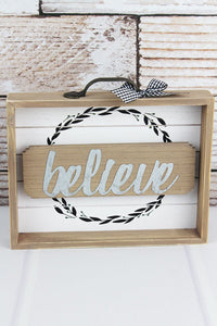 BELIEVE WOOD W/ METAL DRAWER BOX SIGN