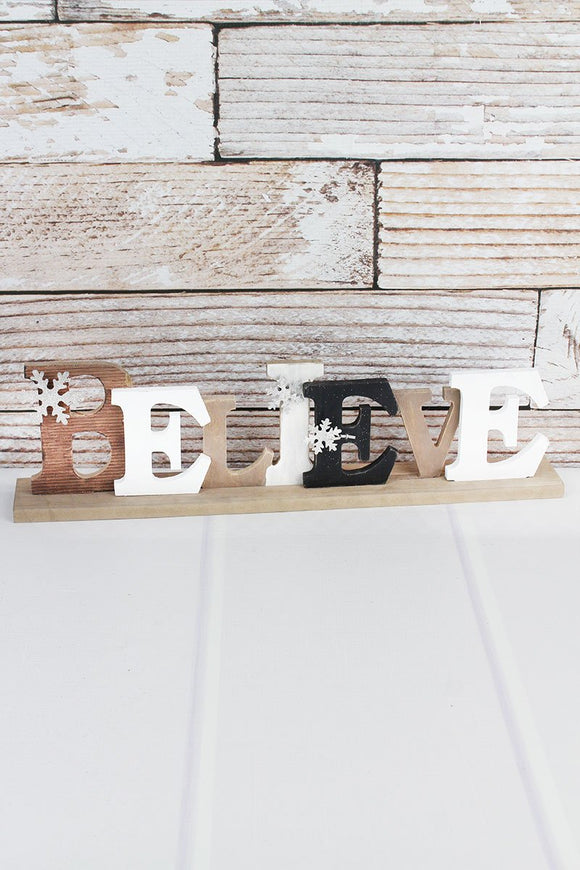 BELIEVE W/ GLITTER SNOWFLAKES TABLETOP DECOR