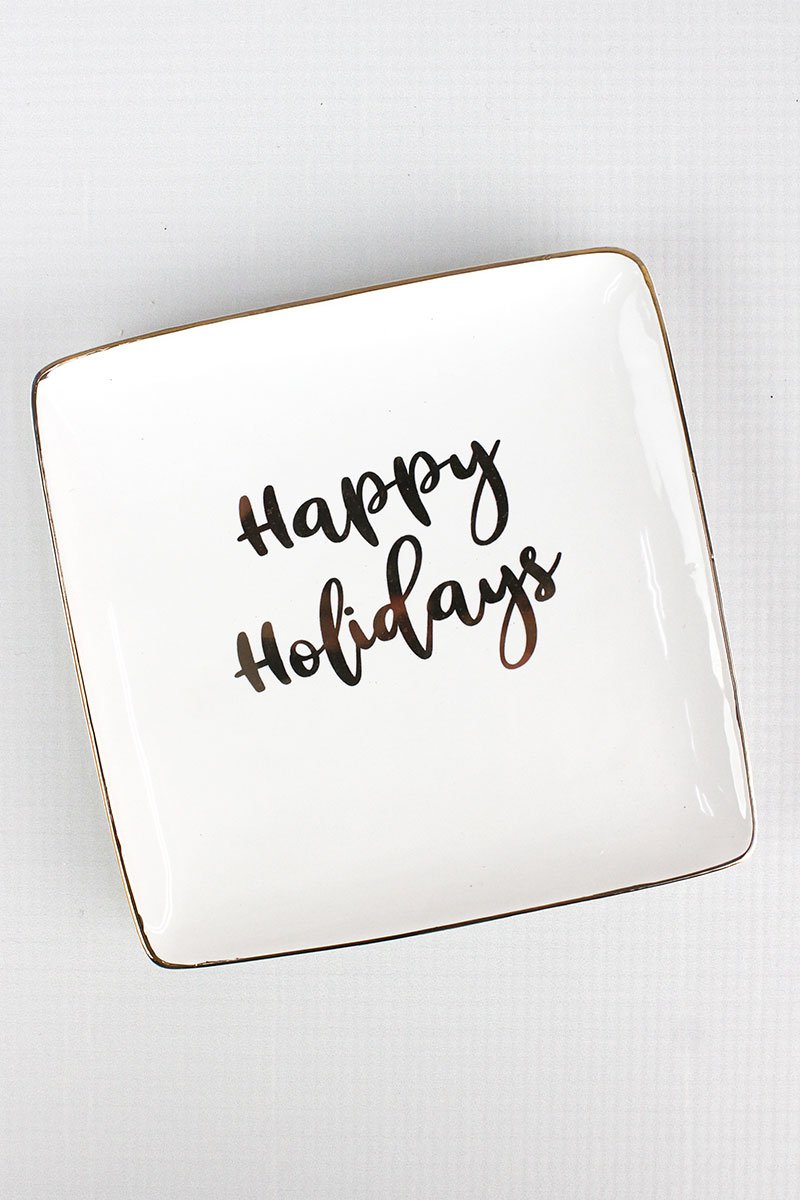 CERAMIC HAPPY HOLIDAYS PLATE