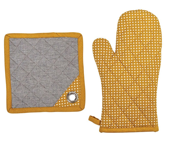 MUSTARD COTTON POLKA DOT OVEN MITT