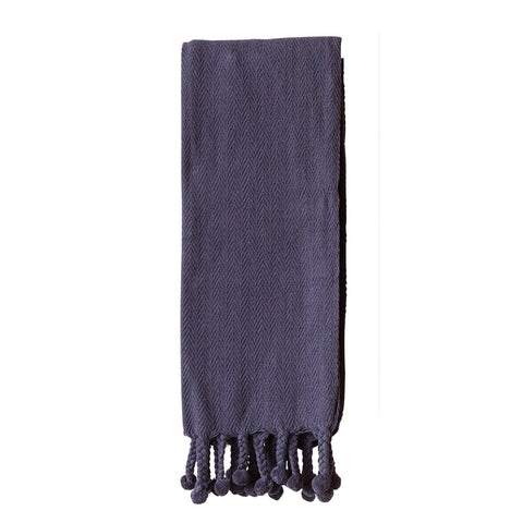 "60"" x 50"" NAVY COTTON THROW W/ POM POM"