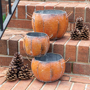 METAL PUMPKIN CONTAINERS (set of 3)