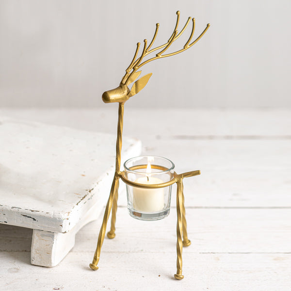 GOLD STRAIGHT REINDEER VOTIVE HOLDER
