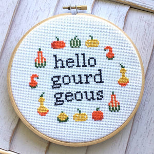 HELLO GOURD-GEOUS CROSS STITCH