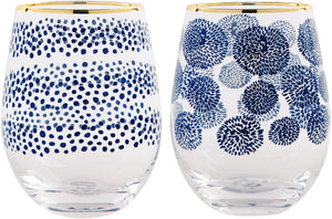 2 INDIGO STEMLESS WINE GLASSES