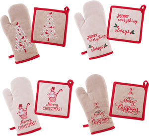 ASSORTED CHRISTMAS OVEN MITT/POT HOLDER SET