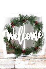 WELCOME WREATH WINDOW WALL DECOR